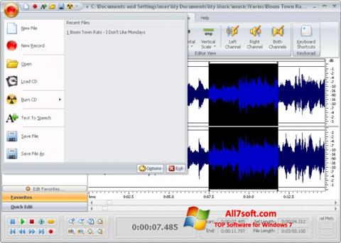 Screenshot Free Audio Editor Windows 7