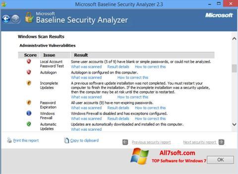 Screenshot Microsoft Baseline Security Analyzer Windows 7