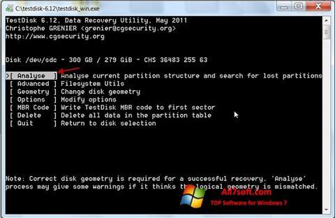 Screenshot TestDisk Windows 7