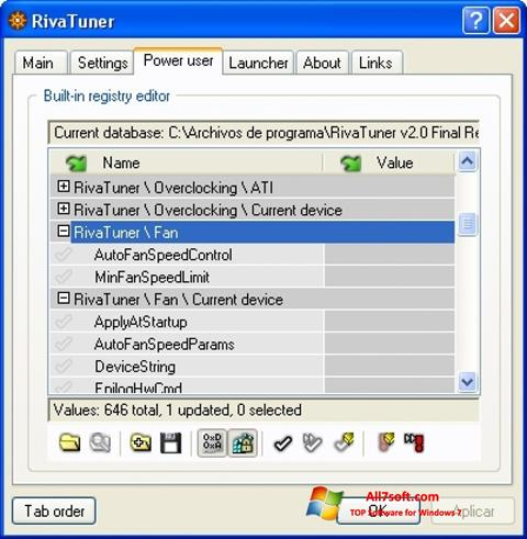 Screenshot RivaTuner Windows 7