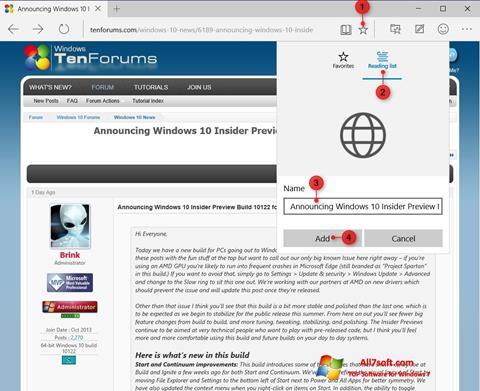 Screenshot Microsoft Edge Windows 7